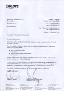 certifikát klotz autorizovaný partner